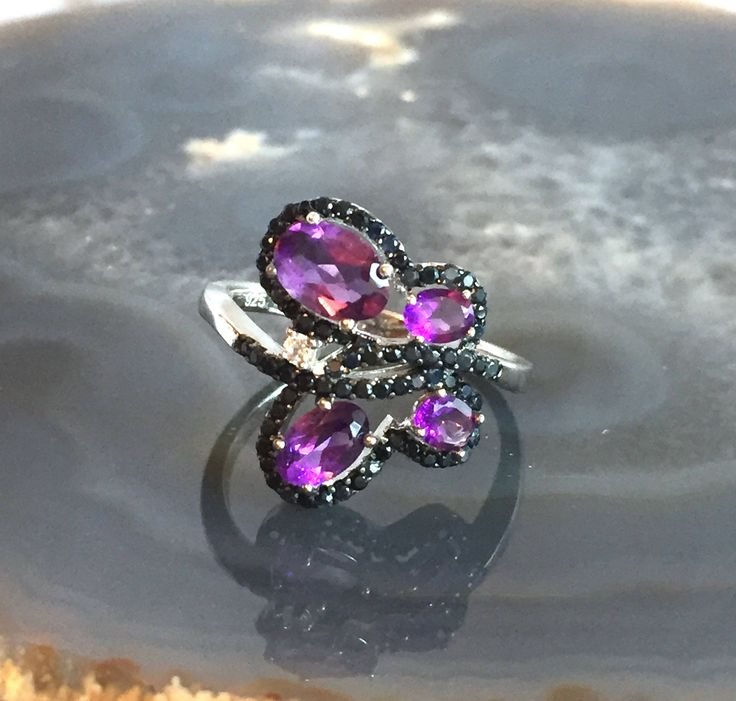 Natural AMETHYST, Black SAPPHIRE Precious Gemstones, CZ 14K White Gold and 925 Sterling Silver, Butterfly Ring Jewellery Sz 8. by AmeogemPreciousJewel on Etsy