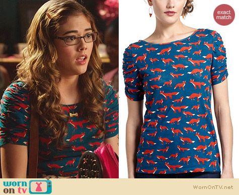 Rose's blue fox print top on Hart of Dixie. Outfit Details: http://wornontv.net/25294 #HartofDixie #fashion