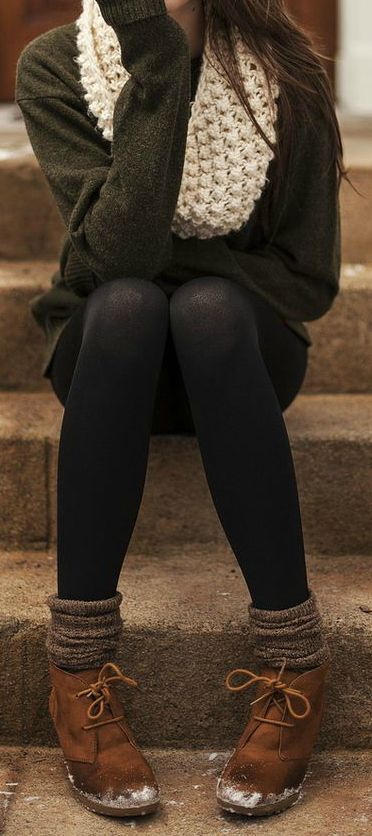 dark grey charcoal sweater, black tights/leggings, light grey wool socks, brown boots, and white knit infinity scarf