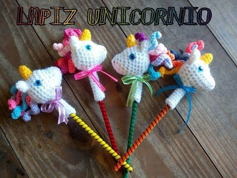 Tutorial lápiz unicornio tejido a crochet - YouTube
