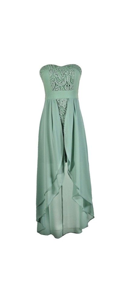 Fairest Maiden High Low Dress in Sage  www.lilyboutique.com