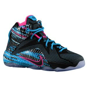 Nike Lebron 12 - Boys' Grade School - James, Lebron - Black/Pink Pow/Blue Lagoon/Black