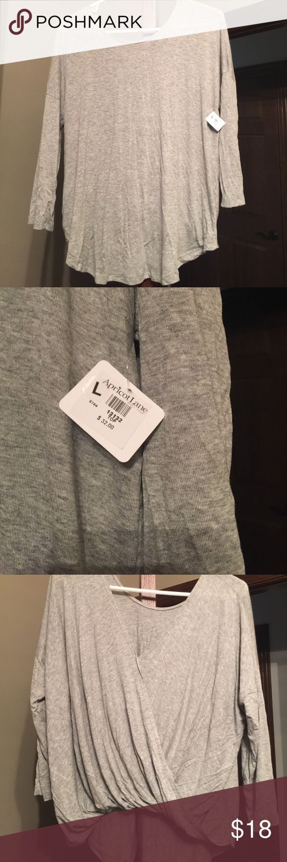 Apricot lane brand new grey pullover shirt Light soft material brand new with tags, back is super cute and can be worn as the front too so two shirts in one! Tops Tees - Long Sleeve