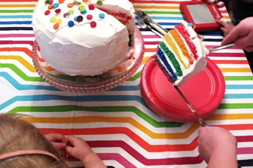 Rainbow birthday party!Birthday Parties, Rainbows Birthday, Rainbow Cakes, Rainbows Cake, Rainbows Parties, Parties Ideas, Colors Cake, Awesome Cake, Birthday Cakes