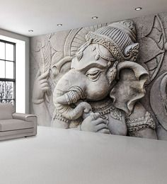 Wallskin PVC Sculptured Lord Ganesha Wall Decal