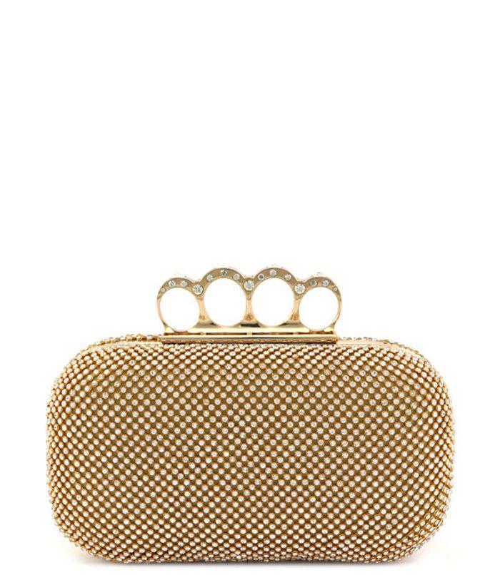 Rhinestone Glitter Evening Bag Gold - Abfabulous Fashion