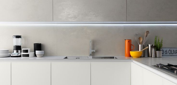 "Zampieri - #Glasstone kitchen in pearl oxide ""Laminam"" and white frosted glass."