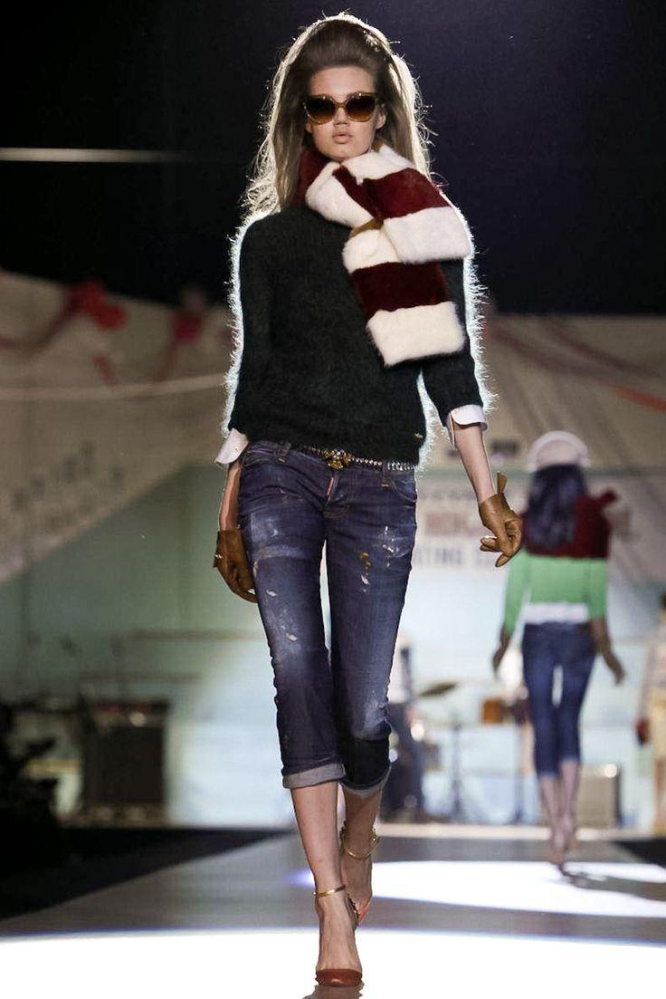 dsquared2 f/w 12/13: Fall Clothing, Woman Fuzzy, Fuzzy Sweaters, Blue Jeans, Milan Fashion Week, Minus Scarfs, Fashion Trends, Fall Winter, Style Fashion