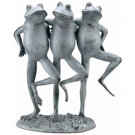 Dancing Frogs Statue In Distressed Silver.Product: SculptureConstruction  Material: AluminumColor: SilverFeatures: Charming Design Dimensions: 19 H X  W X 8 D