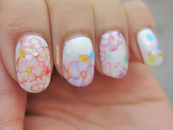Water Color Floral Water Transfer Decal Nail Art by chichicho