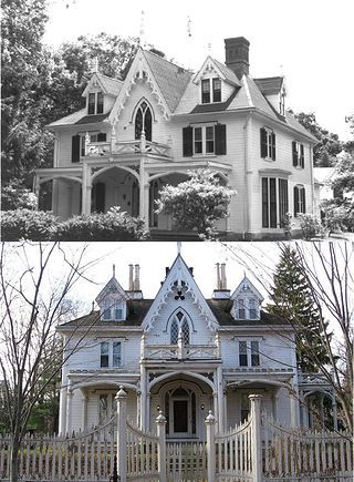 621 best victorian gothic house designs images on pinterest for Gothic revival house plans