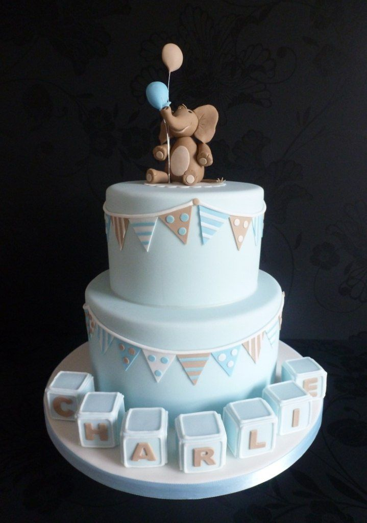 Christening Cake Designs For Baby Boy : Elephant and Bunting Christenning Cake Christening ...