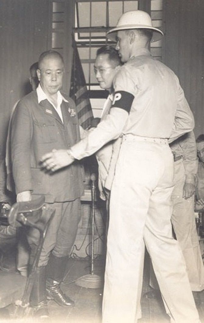 General Tomoyuki Yamashita leaves the Manila Supreme Court after he is sentenced to death for war crimes during WWII