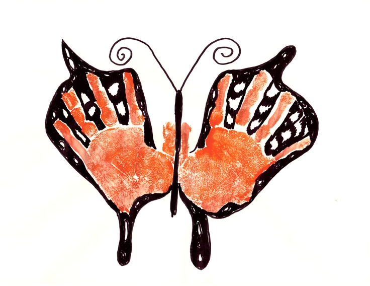 Monarch butterfly handprints very easy to make
