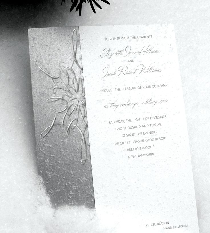 Winter themed wedding invitation. Perfect for your winter wonderland wedding!