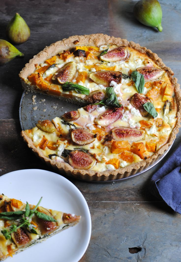 Quiche à la courge, figues, fromage de chèvre et basilic - Pumpkin, basil, goat cheese and fig tart