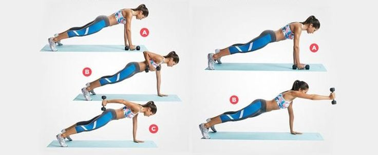 Как правильно делать упражнение планка с махами для рук и гантелями