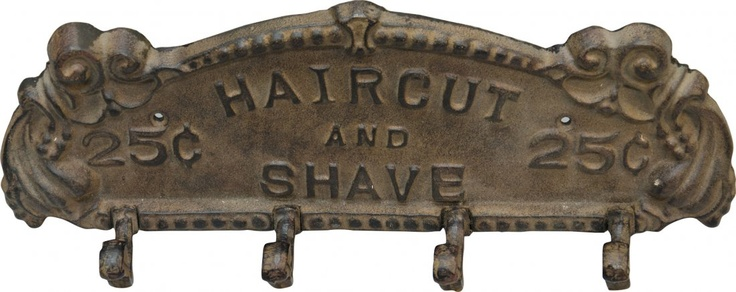 "Ornate Cast-Iron ""Haircut And Shave"" Barber Shop Wall Coat/Hat Hook"