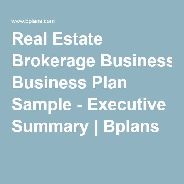 Real Estate Brokerage Business Plan Sample