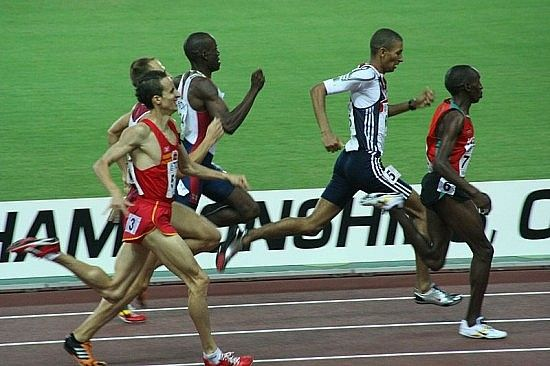 World Athletics Championships 2007 in Osaka - Scene from heat 4 of the first round of the men*s 800 metres: Manuel Olmedo, Khadevis Robinson, Michael Rimmer, Alfred Kirwa Yego. Photo by Eckhard Pecher
