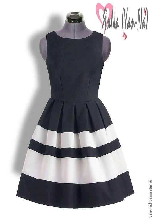 """Купить Платье """"Касабланка"""" - чёрно-белый, однотонный, платье, платье коктейльное, платье вечернее"""
