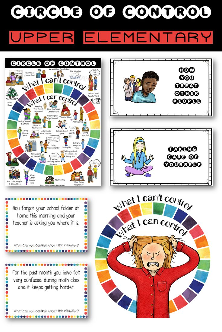 Upper Elementary Control Circle activity of Grades 3-5 https://www.teacherspayteachers.com/Product/Upper-Elementary-Counseling-Tool-What-are-Things-I-Can-Cant-Control-3081833