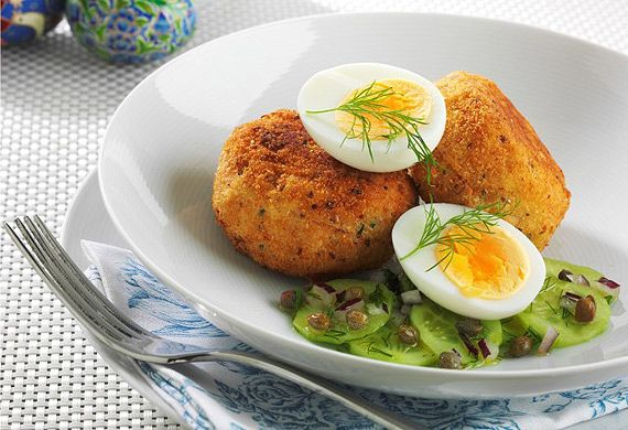 Smoked trout patties with soft boiled egg and cucumber, dill and caper salad recipe - 9Kitchen