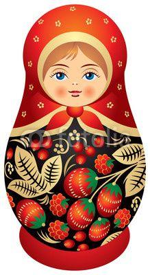 Вектор: Matryoshka doll in Khokhloma style