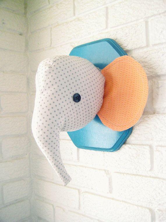 CUSTOM elephant plush wall mount, whimsical nursery decor, faux taxidermy, made to order