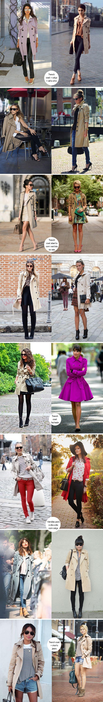 Look para inspirar, como usar, trench coat, coat, vermelho, bege, shorts jeans, vestido, calça