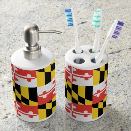 Maryland Flag Toothbrush Holder and Soap Dispenser - college dorm gifts student students accessories freshmen