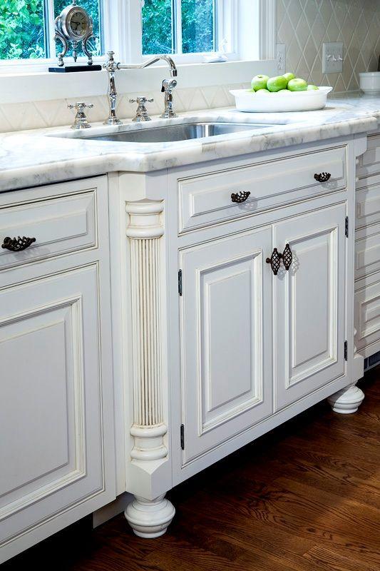 French country kitchen Sink detail w / fluted column legs Kitchen {Gilday Renovations, Sarah Kahn Turner designer}