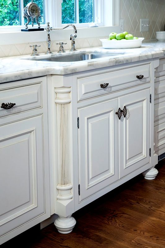 french country kitchen sink detail w fluted column legs kitchen