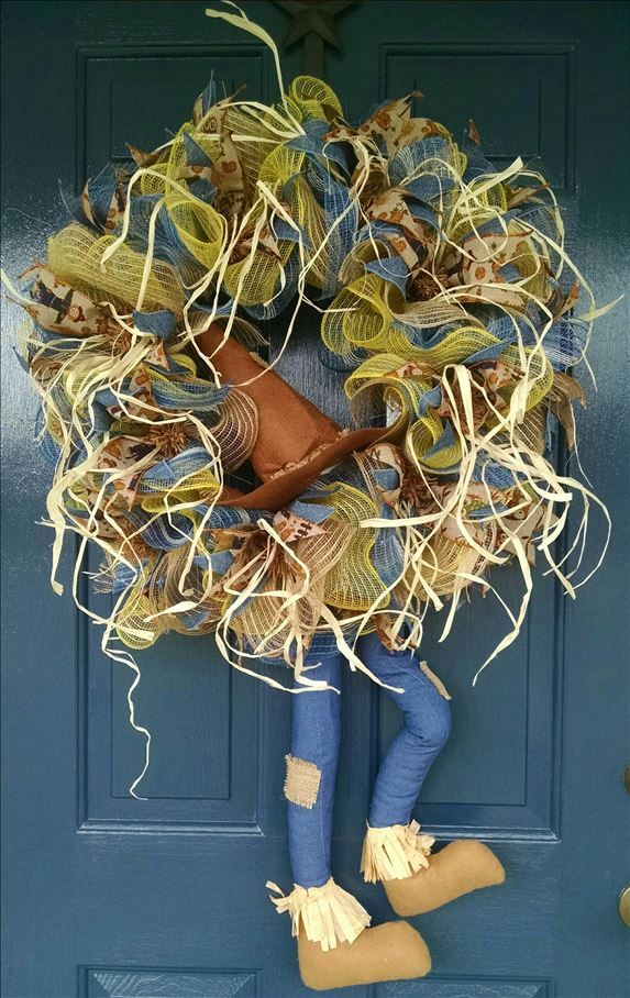 """Begin decorating your porch for the season with this Scarecrow. 26"""" deco mesh…"""