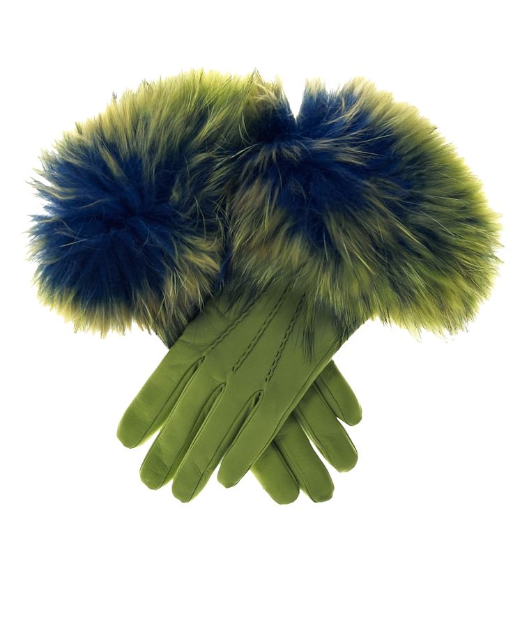 Women's Italian Fox Fur Cuff Cashmere Lined Leather Gloves By Fratelli Orsini | Free USA Shipping at Leather Gloves Online