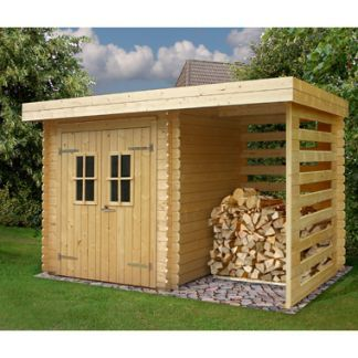 Garden Log Cabin with Log Store Munster by Solid 3.62m x 2.3m