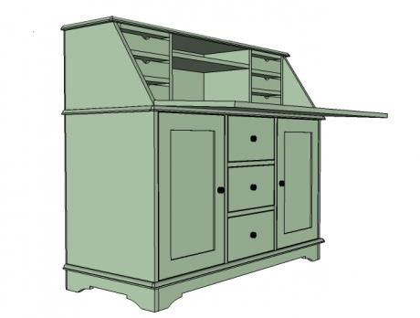 I want to make this! DIY Furniture Plan from Ana-White.com The base for the Grant collection. Features three drawers and two doors, decorative footer, and is useable without the hutches.