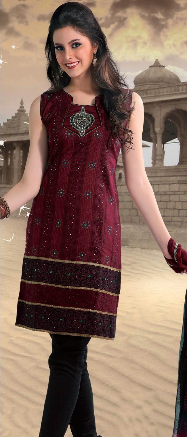#Maroon Cotton #Readymade Churidar Kameez @ $68.66