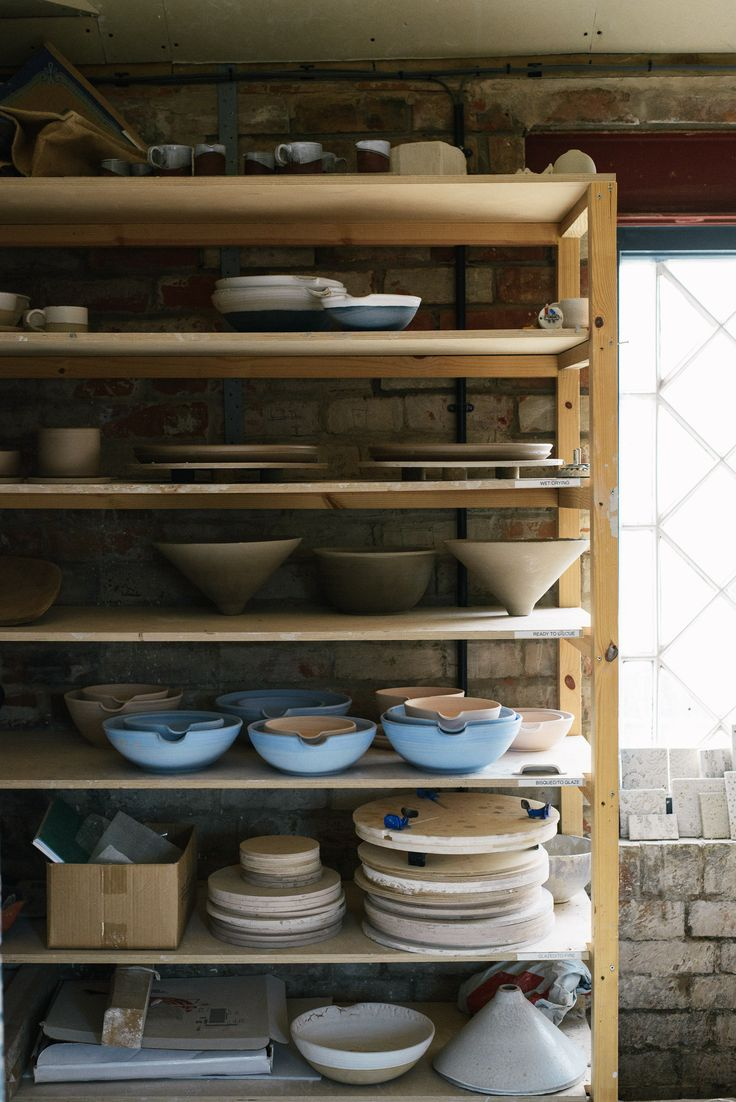 shelves of ceramics in our little Cotes Mill studio