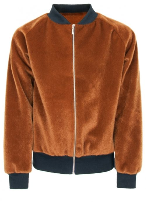 Ocher Fur Bomber  Andrez . Independent fashion brand. portuguese design . scar-id store