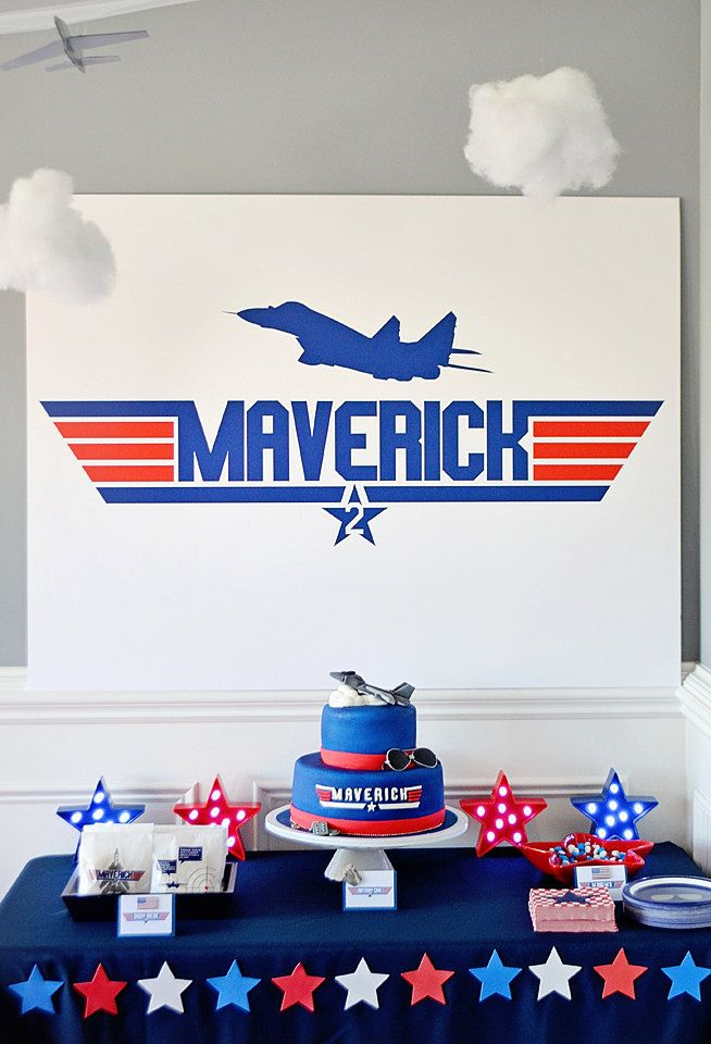"""Top Gun Party """"Custom Name"""" Cake Table Backdrop, Dessert Party Table Background - DIGITAL DOWNLOAD 36"""" x 48"""" PDF, Instant Download, Maverick by EmilyEntertains on Etsy"""