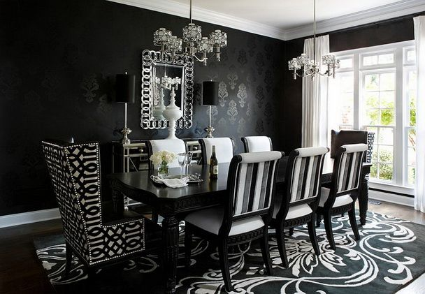 Black and White Patterned Upholstered Dining Chairs and Flowery Rugs Black and White also Black Victorian Wallpaper in Dining Room Black Theme Ideas