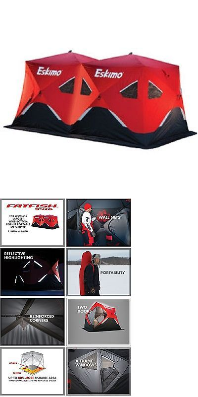 Ice Fishing Accessories 179996: New Eskimo Fatfish 9416 Ff9416 7-9 Person Portable Pop Up Ice Fishing Shelter BUY IT NOW ONLY: $399.99
