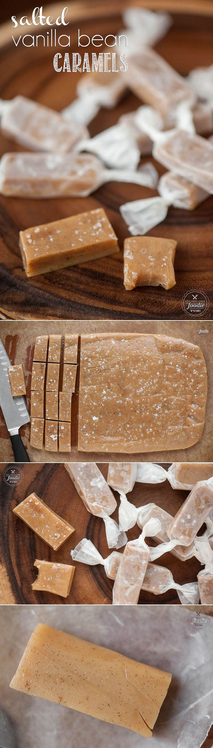 Salted Vanilla Bean Caramels - Made with the goodness of browned butter and lots of vanilla beans, are the perfect holiday gift!