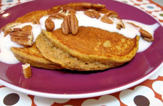 Pumpkin Pancakes  Ingredients  1 cup whole wheat flour  1/4 cup ground chia seeds (can use flax meal)  1 tablespoon of sugar  2 teaspoons baking powder  1/2 teaspoon cinnamon  1/2 teaspoon ground ginger  1/8 teaspoon nutmeg  pinch of ground cloves  1 cup 2 percent milk  6 tablespoons canned pumpkin puree  2 tablespoons canola oil  1 egg