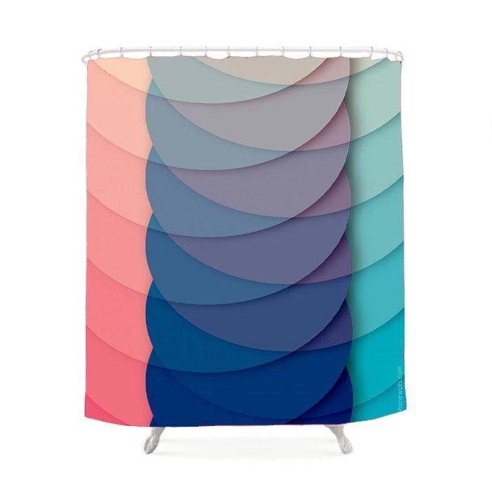 Circle Rainbow Shower Curtain