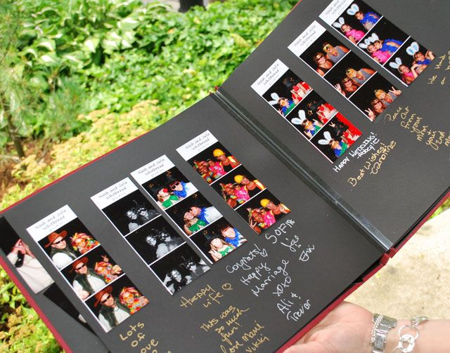 I WILL have a photo booth at my reception :)  Photobooth that prints out two sets of pictures..have book next to booth for the couple to glue one copy into and write a note/sign their names!