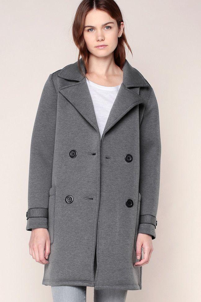 Manteau gris liserés/boutons noirs MLess - School Rag