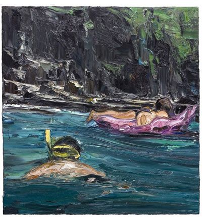 In the swell (lilo girl and snorkeller) 2005  Oil on Belgian linen 112x107cm  Private Collection   nicholasharding.com.au
