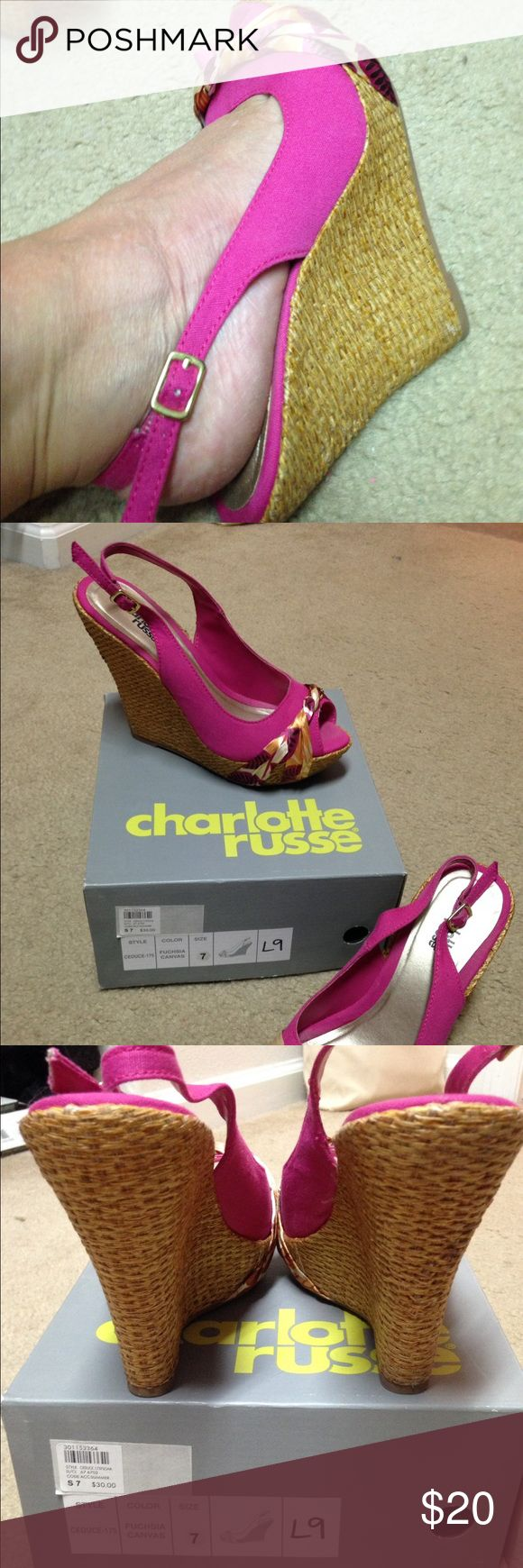 Charlotte Russe Heels In near perfect condition, no defects. Size 7. Worn twice. Cloth material w/ silk decor. Light weight and easy to wear. Make me an offer! Charlotte Russe Shoes Heels